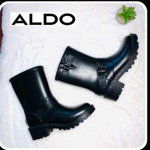 Aldo biker leather-trimmed rubber rain boo…